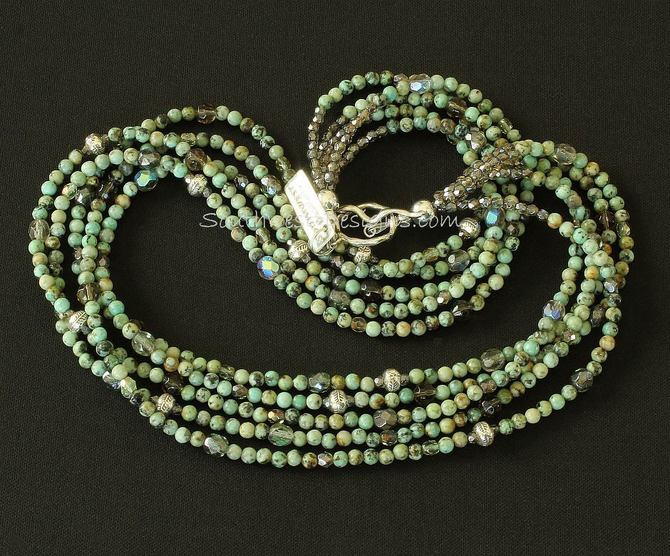 Chrysocolla Rounds 5-Strand Necklace with Fire Polished Glass and Sterling Silver