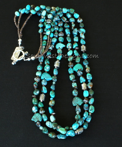 3-Strand Chrysocolla Nugget Necklace with Mojo Cylinder Beads, Apatite, Turquoise Fetishes and Sterling Silver