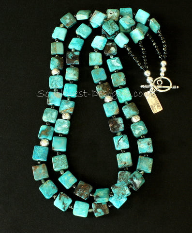 Chrysocolla Squares 2-Strand Necklace with Obsidian Rounds, Pyrite Nuggets and Sterling Silver