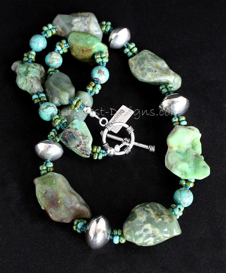 Chrysoprase, Turquoise and Sterling Necklace