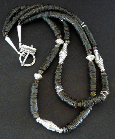 Coconut Shell Heishi 2-Strand Necklace with Sterling Silver