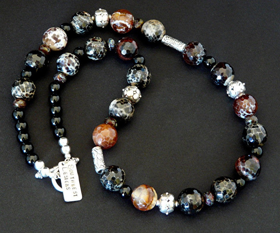Color-Washed Agate Necklace with Onyx & Sterling Silver