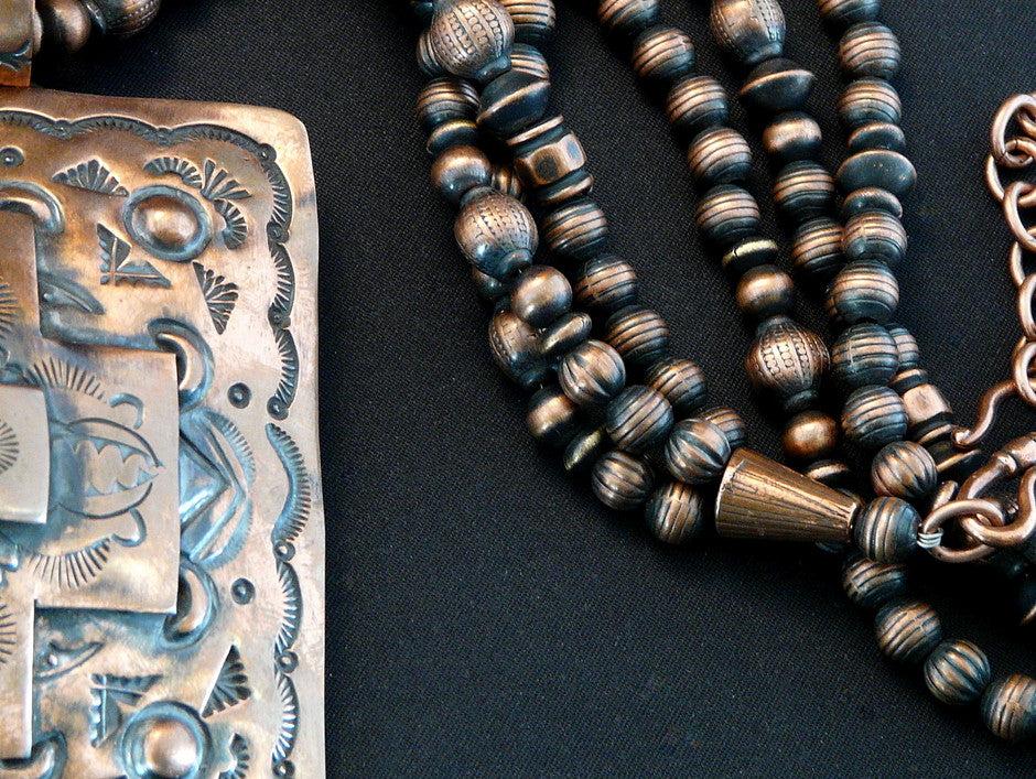 Navajo Stamped Copper Pendant with 200 Handcrafted Copper Beads