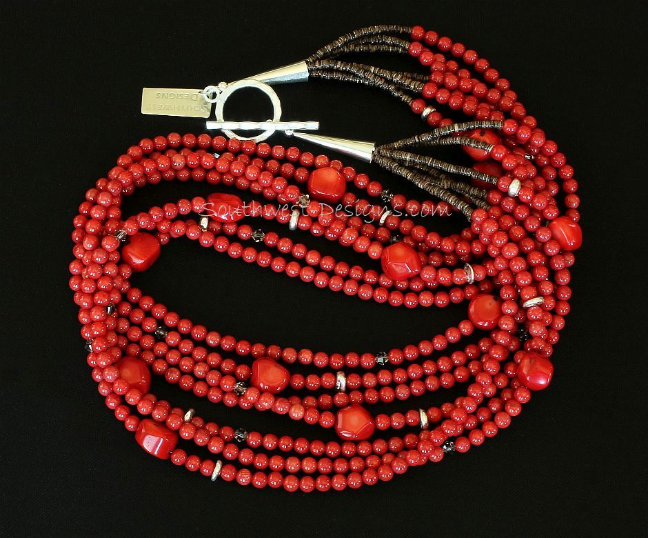Bamboo Coral Rounds 7-Strand Necklace with Coral Nuggets and Sterling Silver