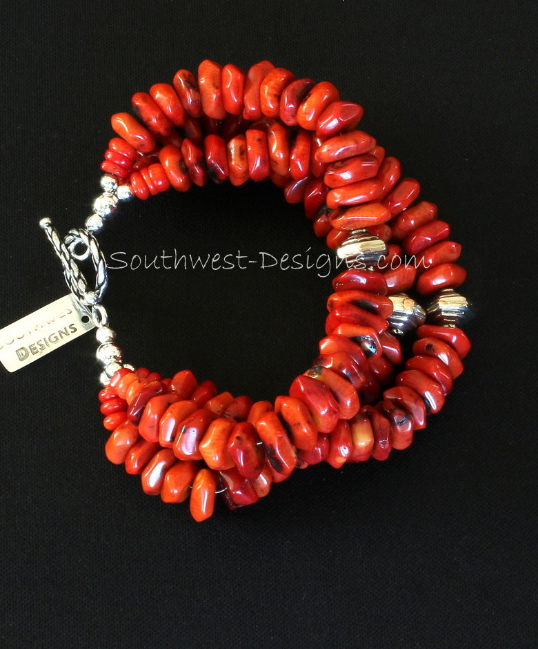 Coral Faceted Rondelle 3-Strand Bracelet with Hill Tribe Silver Spiral Bicones and Sterling Silver Toggle Clasp