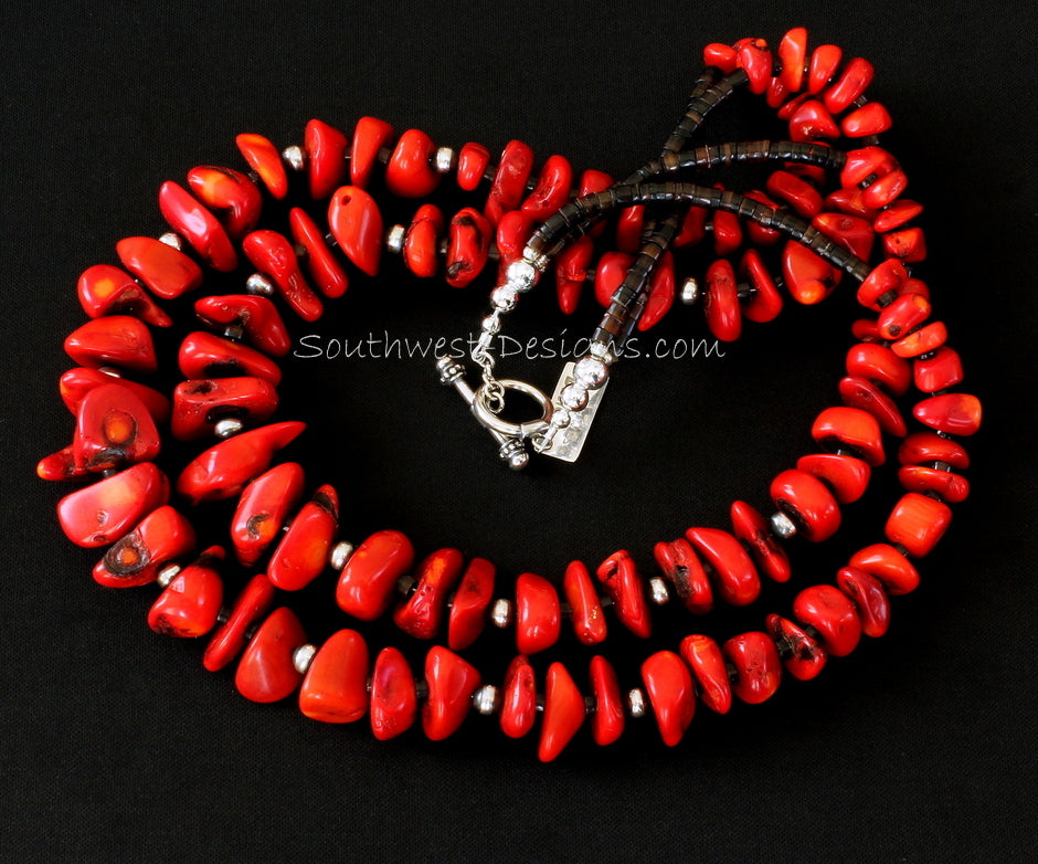 Bamboo Coral Graduated 2-Strand Necklace with Pen Shell Heishi, Oxidized Sterling Silver Rounds, and Sterling Toggle Clasp