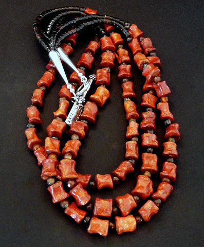 Coral Nugget Necklace with Carnelian and Sterling Silver