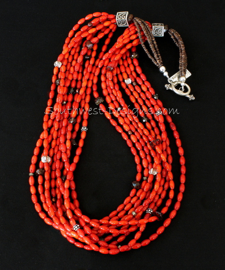 Coral Oval 10-Strand Necklace with Olive Shell Heishi, Mixed Gemstones and Sterling Silver