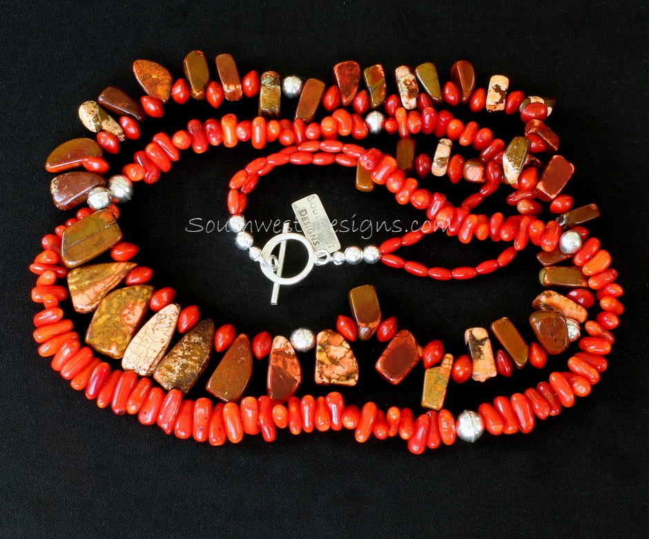 Bamboo Coral and Red Magnesite Spike Necklace with Chocho Diamante Seeds, Coral Ovals & Sterling Silver