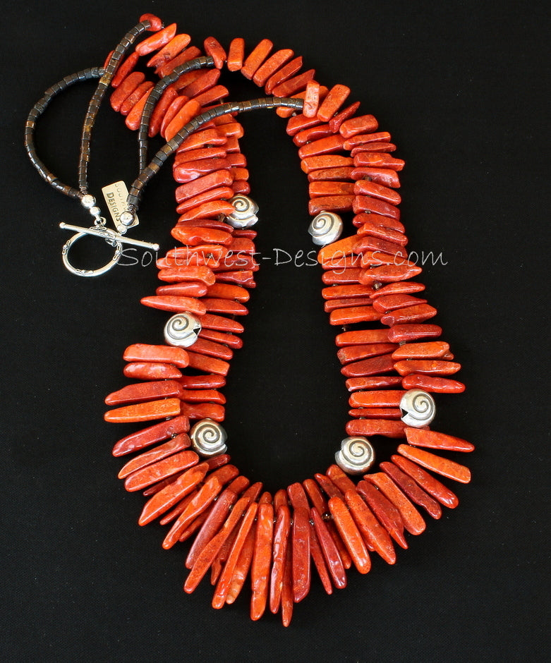 Graduated Coral Spike 2-Strand Necklace with Shell Heishi and Sterling Silver Coiled Shell Beads and Toggle Clasp