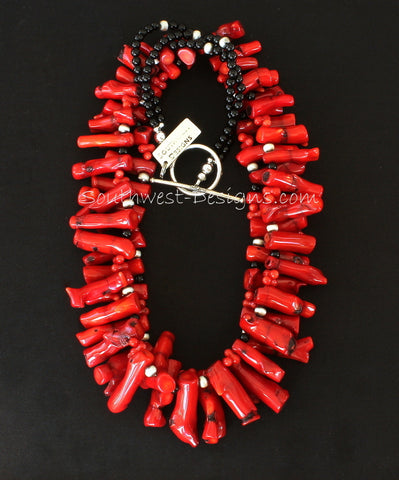 Bamboo Coral Branch 2-Strand Necklace with Onyx & Oxidized Sterling Silver
