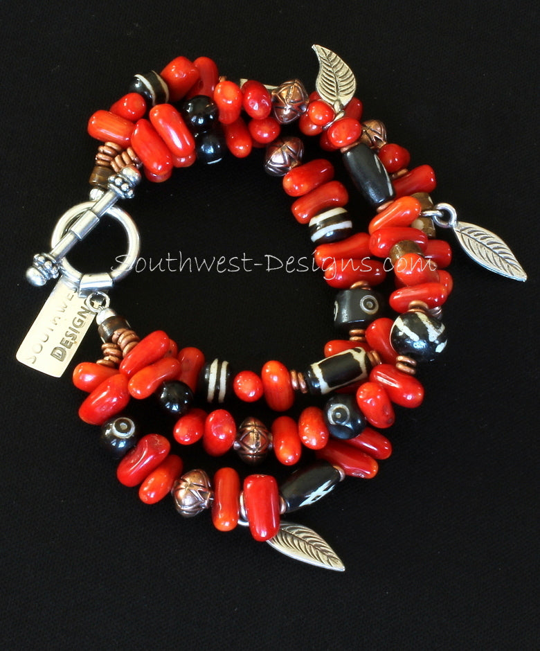 Bamboo Coral Stick 3-Strand Bracelet with Hand-painted Horn Beads, Copper and Sterling