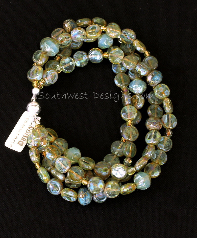 Moss Green Czech Luster Glass 4-Strand Bracelet with Fire Polished Glass and Sterling Silver Magnet Clasp