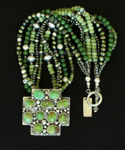11-Stone Turquoise & Sterling Silver Cross Pendant with 5 Strands of Jade, Peridot, Pearls, Fire Polished Glass and Sterling