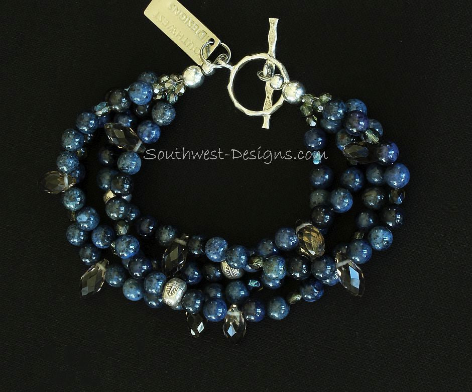 Blue Sunset Dumortierite Rounds 4-Strand Bracelet with Crystal Teardrops and Sterling Silver