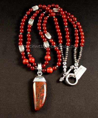 Dinosaur Bone and Sterling Silver Capped Pendant with 2 Strands of Carnelian Rounds, Coral and Ornate Sterling Silver