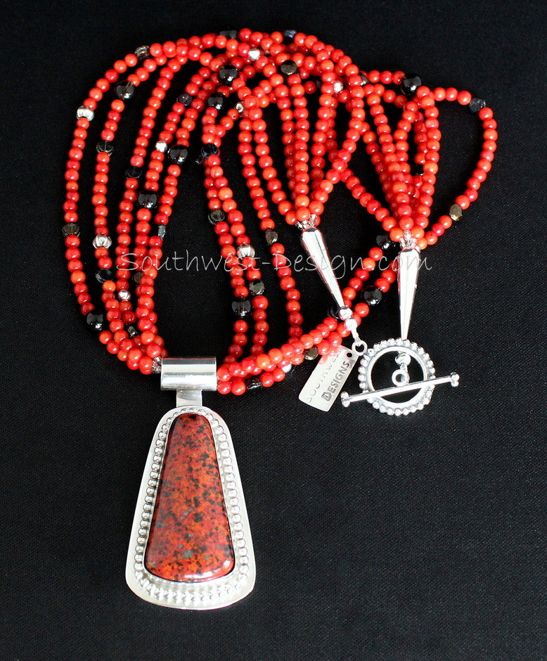 Dinosaur Bone and Sterling Silver Pendant with 5 Strands of Coral Rounds