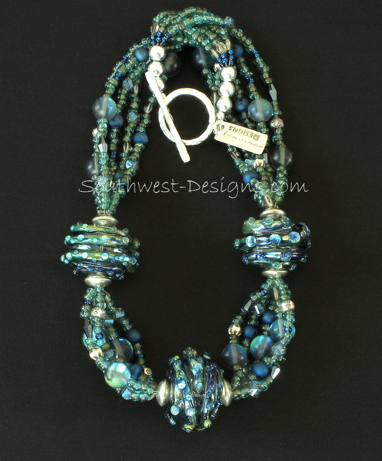 Handcrafted Art Glass Rondelle Bead Necklace with 5 Strands of Indonesian Glass, Blue Metallic Drusy Rounds, Blue & Gray Faceted Glass and Sterling Silver