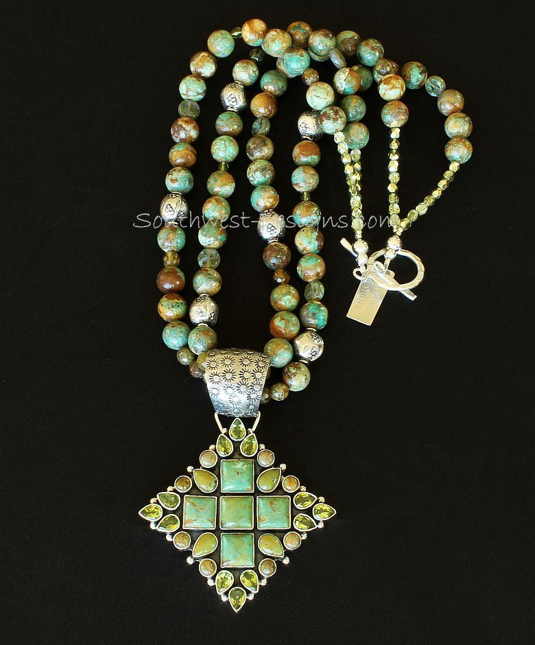 29-Stone Turquoise, Peridot and Sterling Silver Pendant with 2 Strands of Royston Boulder, Garnet and Sterling Silver
