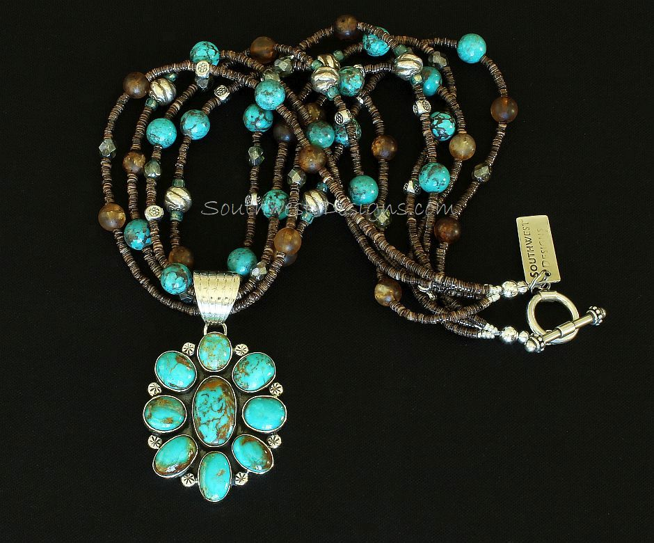 9-Stone Turquoise & Sterling Silver Pendant with Turquoise, Amber Quartz and Sterling Silver