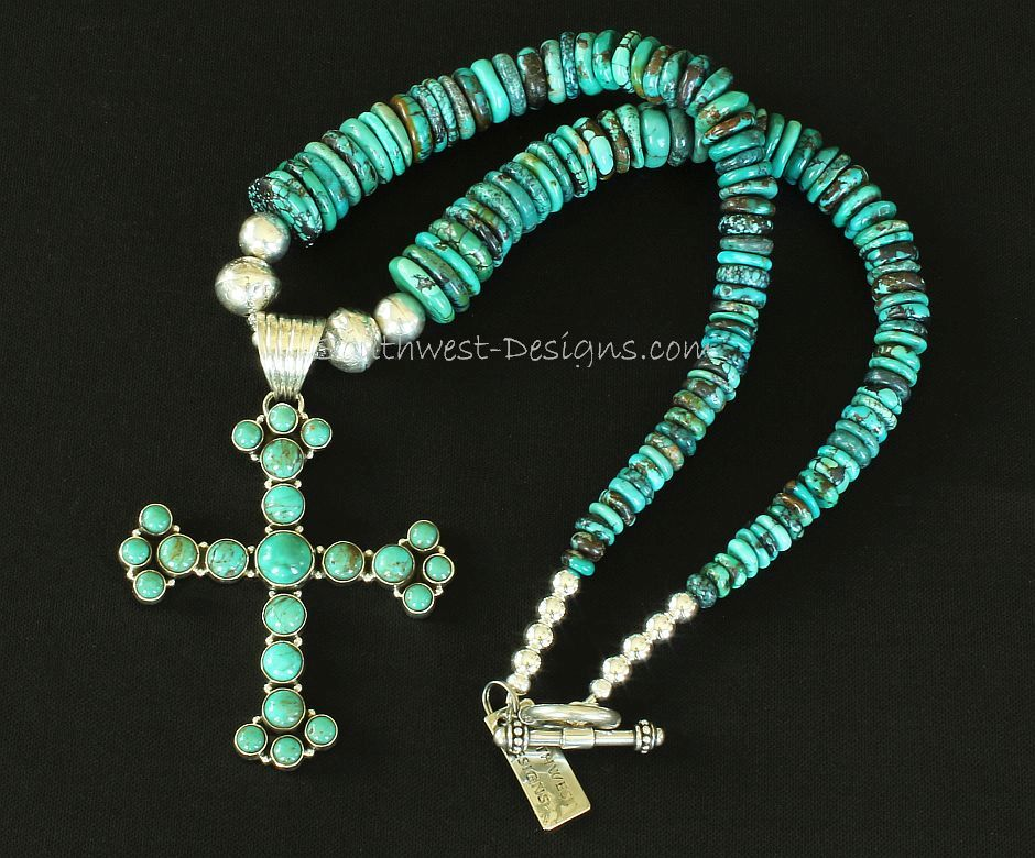 22-Stone Turquoise and Sterling Silver Cross Pendant with Nevada Turquoise Graduated Round Disc and Sterling Silver Beads and Toggle Clasp
