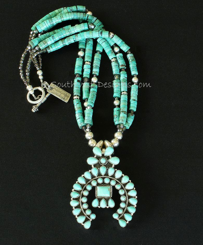 44-Stone Turquoise & Sterling Silver Naja Pendant with 3 Strands of Turquoise Heishi and Sterling Silver