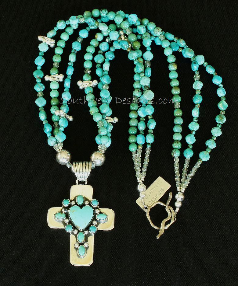 Turquoise & Sterling Silver 10-Stone Cross Pendant with 3 Strands of Turquoise and Sterling