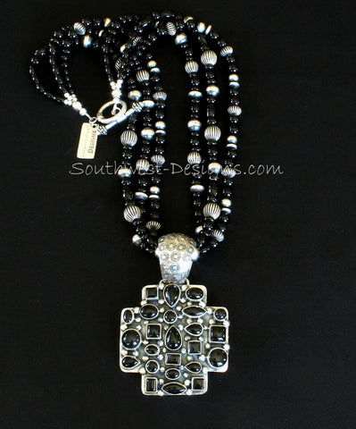 24-Stone Onyx and Sterling Silver Cross Pendant with 3 Strands of Onyx, Oxidized Sterling Silver Beads, and Sterling Silver Toggle Clasp