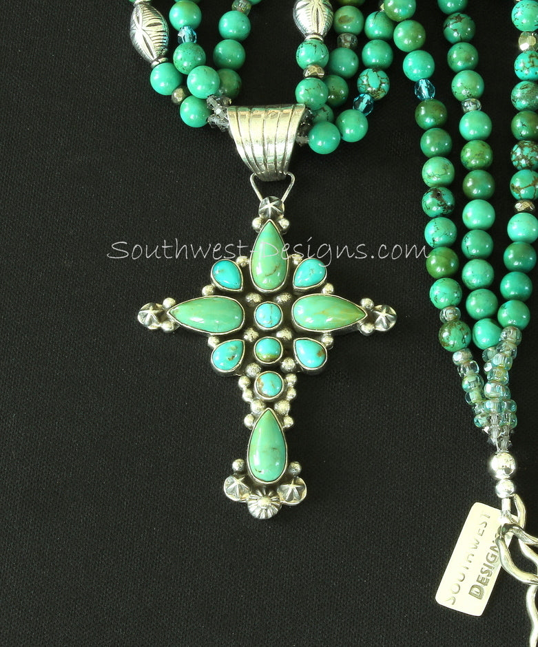 Turquoise & Sterling Silver Cross Pendant with 3 Strands of Turquoise Rounds, Fire Polished Glass and Sterling
