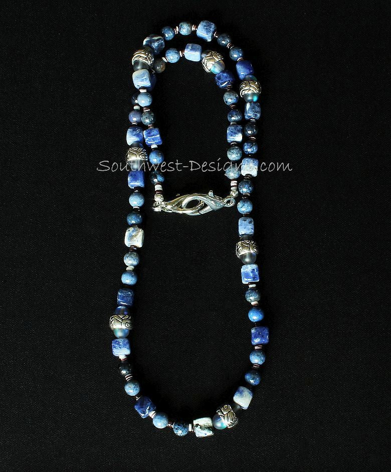 Sunset Dumortierite & Sodalite Mask Lanyard with Blue Crystal and Ornate Silver