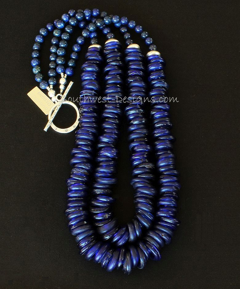 Dutch Donuts and Lapis Rounds 2-Strand Necklace with Sterling SIlver