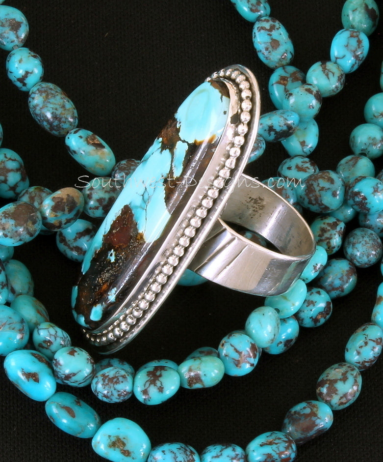 Easter Blue Turquoise and Sterling Silver Oval Ring with Adjustable Sterling Silver Band