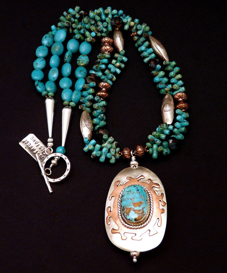 Easter Blue & Hachita Turquoise, Sterling & Copper Pendant Necklace