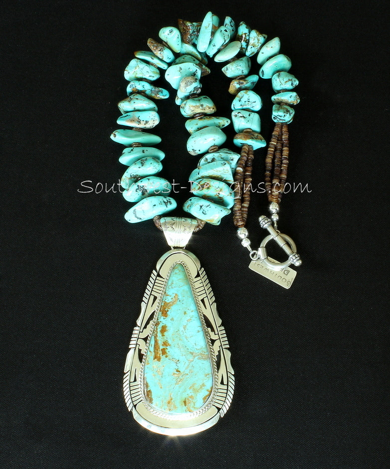 Elouise Kee Kingman Turquoise and Sterling Silver Pendant with Kingman Turquoise Large Nuggets
