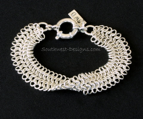 European Sheet Weave Sterling Silver Bracelet with 16mm Sterling Spring Ring Clasp