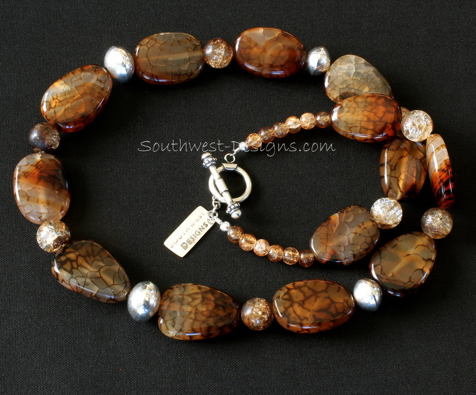 Fire Crackle Agate Ovals Necklace with Amber Quartz, Handcrafted Sterling Silver Rondelles and Sterling Toggle Clasp