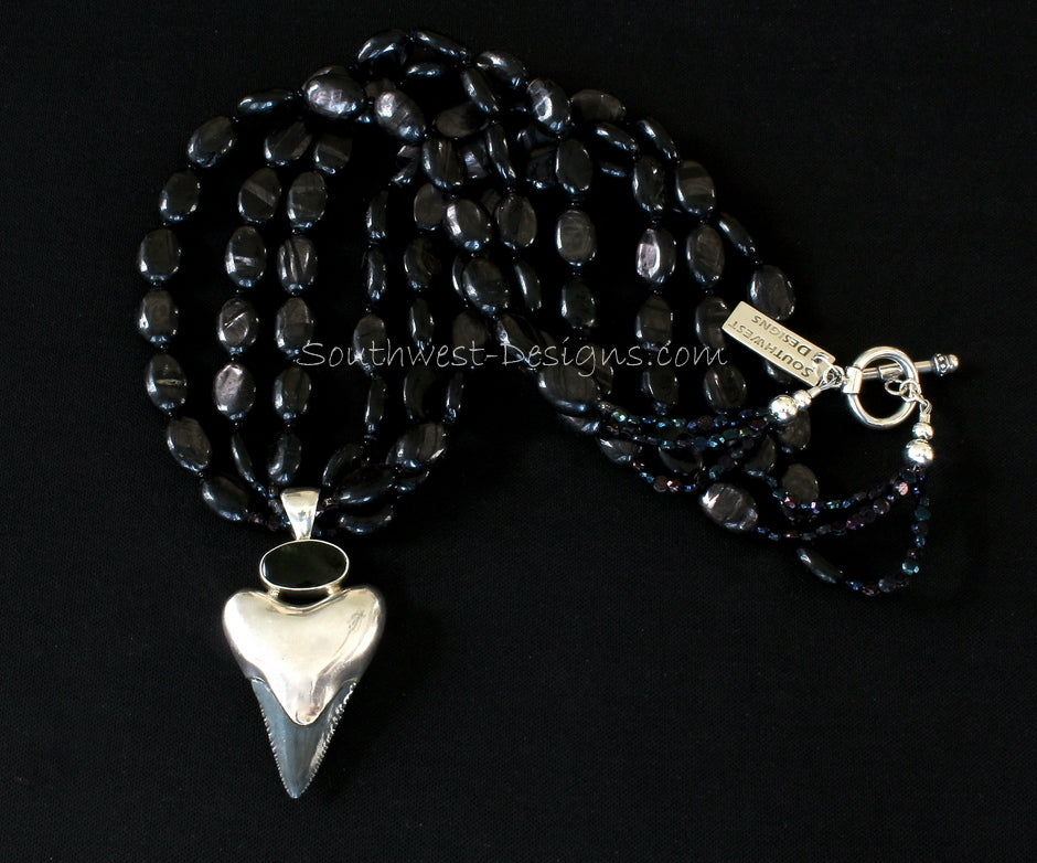 Flint Stone, Sterling Silver and Onyx Arrowhead Pendant with 3 Strands of Hypersthene Ovals, Vintage Czech Nailheads and Sterling Silver