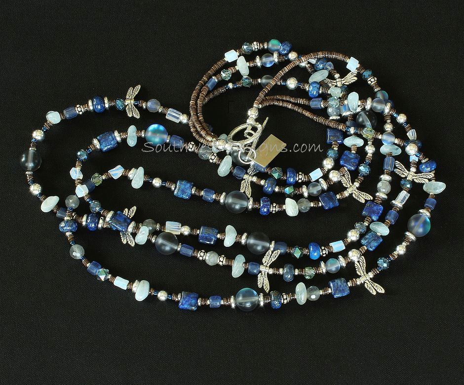 Mixed Gemstone, Crystal and Sterling Silver 3-Strand Necklace with Sterling Dragonflies