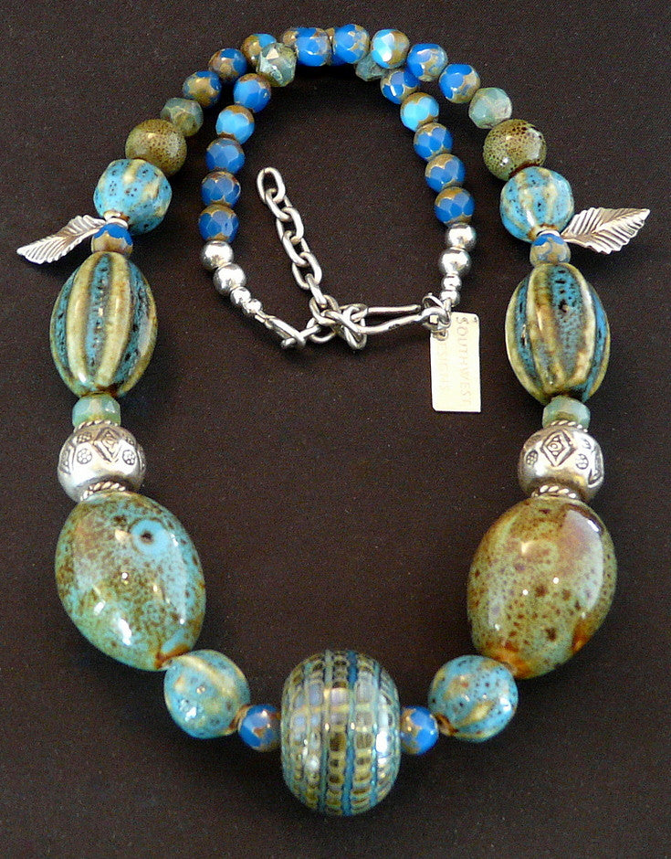 Lampwork Glass and Porcelain Bead Necklace with Czech Glass & Sterling Silver