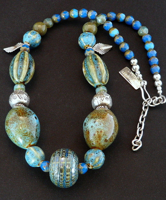 Lampwork Glass and Porcelain Bead Necklace with Czech Glass & Sterling