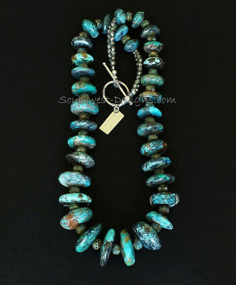 Turquoise Graduated Rondelle Bead Necklace with Czech Glass and Sterling Silver