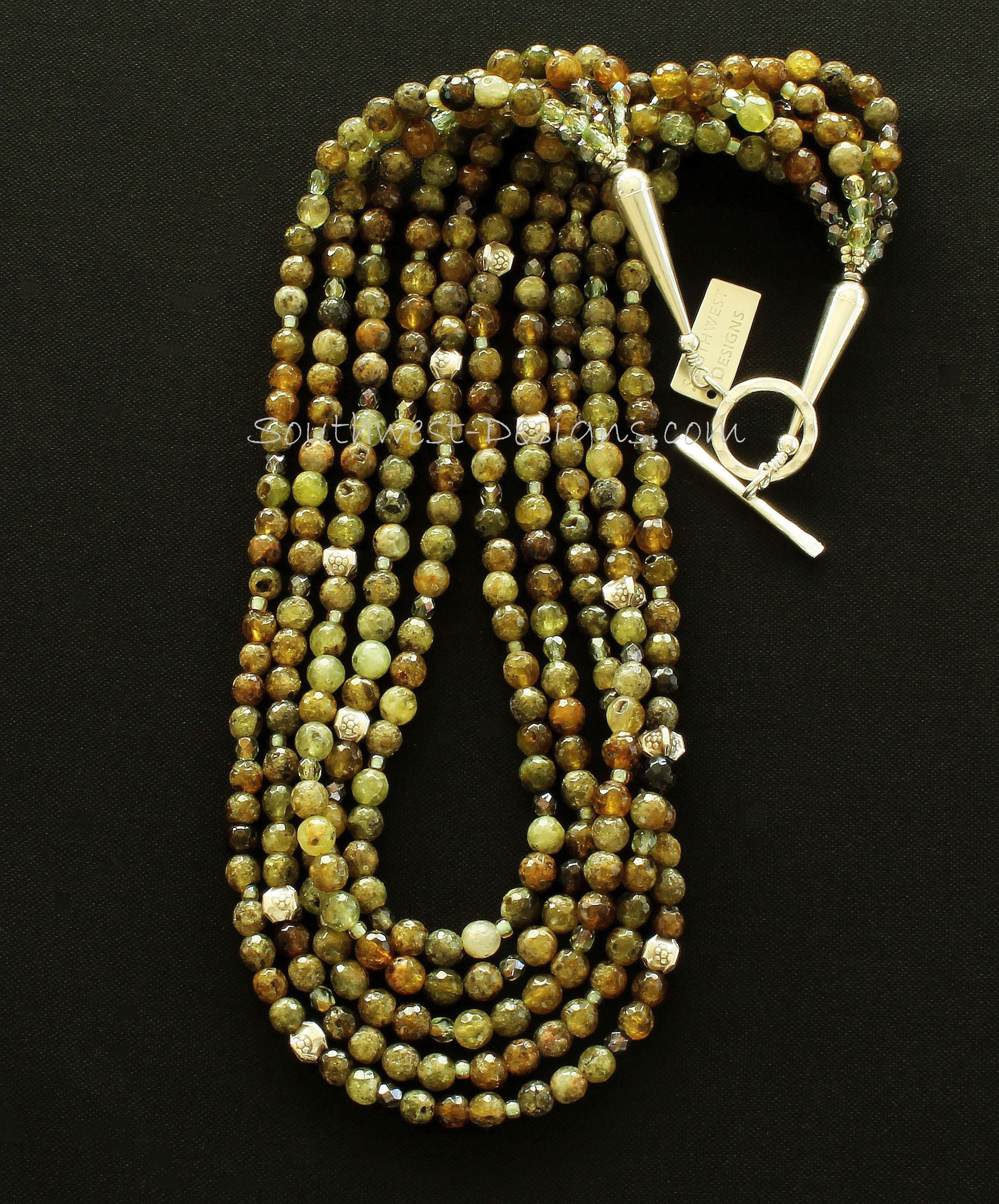 Green Garnet Faceted Rounds 5-Strand Necklace with Czech Glass and Sterling Silver