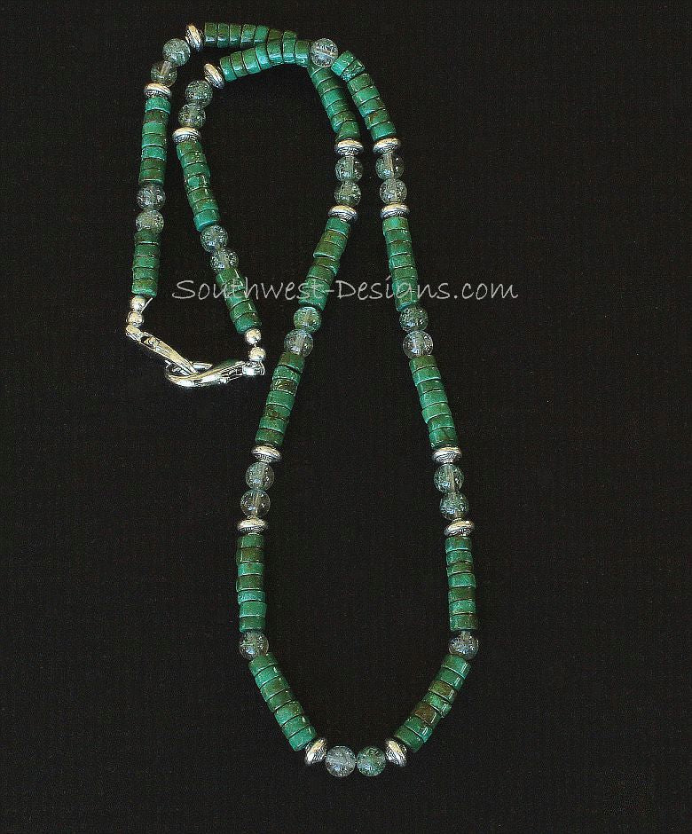 Green Turquoise Heishi with Rutilated Quartz and Sterling Silver