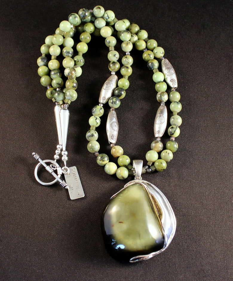 Green Amber & Sterling Silver Pendant with British Columbia Jade