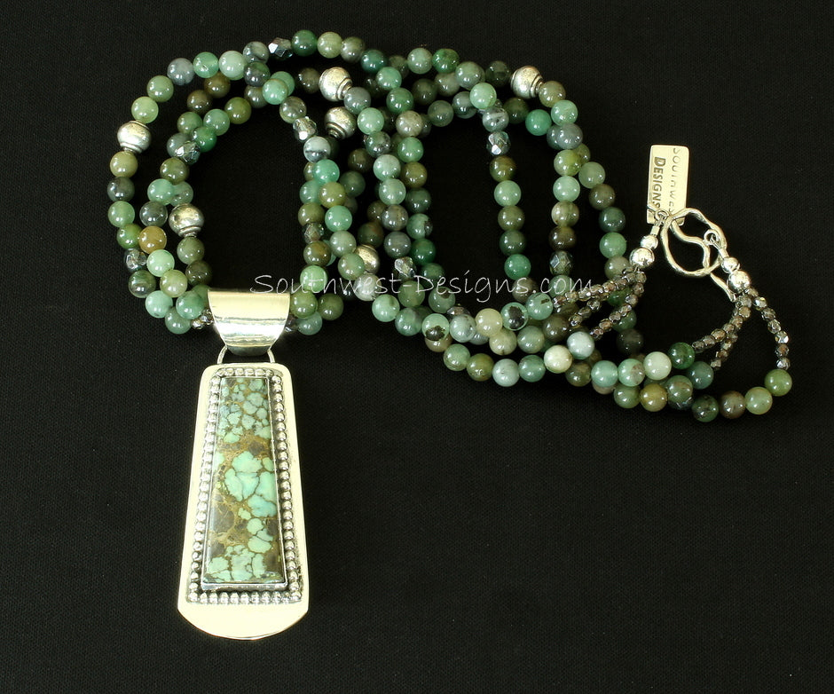 Green Mist Variscite and Sterling Silver Pendant with 3 Strands of Jade & Aventurine and Sterling Silver