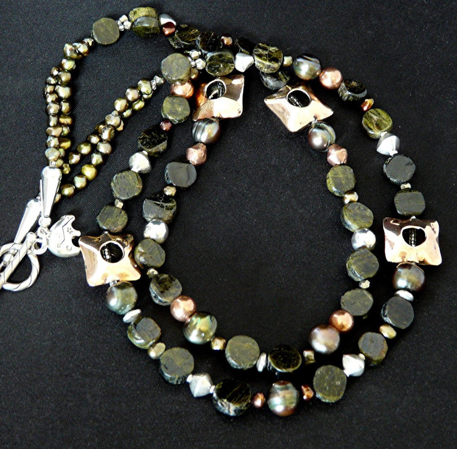 Green Tourmaline Coin Bead Necklace with Copper & Sterling Silver