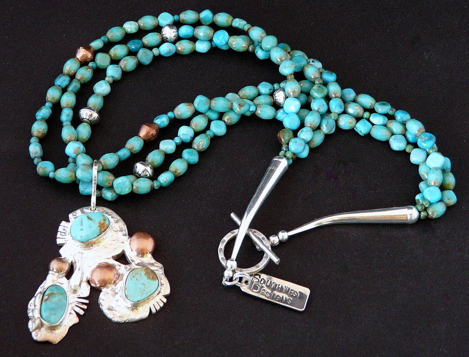 Hachita Turquoise, Sterling and Copper Pendant Necklace