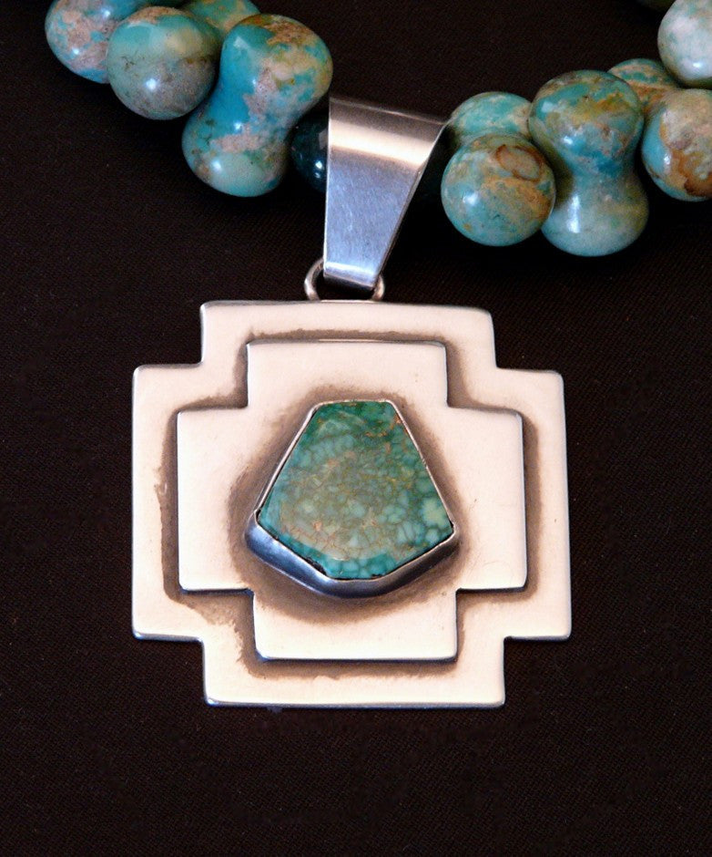 Turquoise and Sterling Pendant with Graduated Haley's Comet Turquoise, Jade & Sterling
