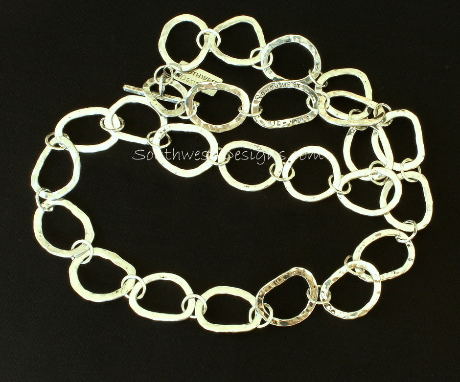 Handcrafted Sterling Silver Hammered Ring Necklace with Sterling Silver Toggle Clasp