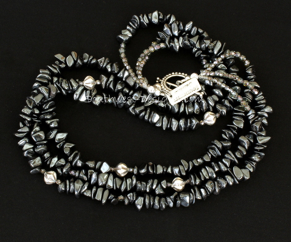 Hematite Black Chip 3-Strand Necklace with Fire Polished Glass, Sterling Silver Fluted Bicones, and Sterling Toggle Clasp